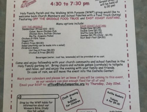 Please Join Us For Our Parish Food Truck Outing On August 1st.